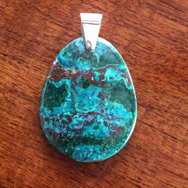 oval chrysocolla pendant