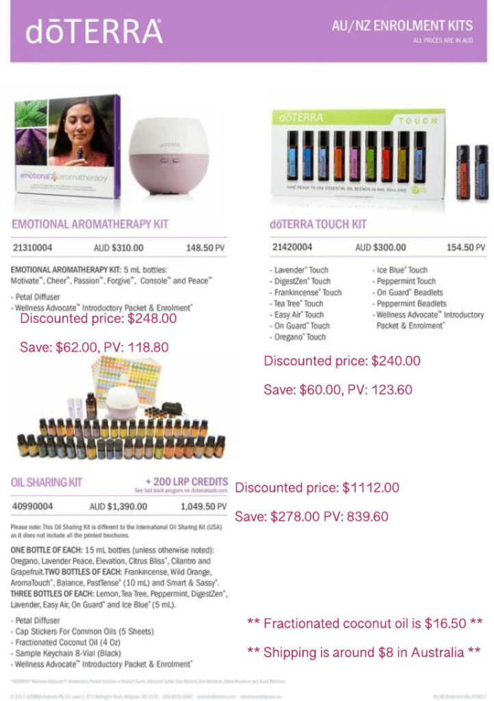 Discounted doTERRA enrolment kits with Melanie Surplice