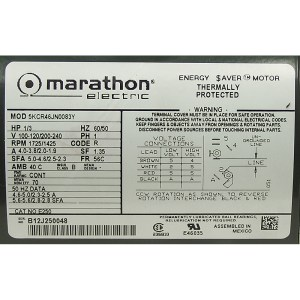 13 HP 17251425 RPM 100120200240 VAC MOTOR MARATHON