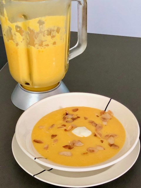 creamy peach gazpacho with almonds