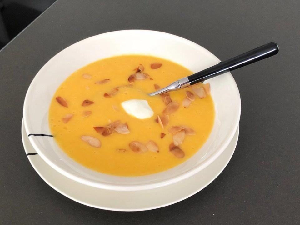 creamy peach gazpacho with almonds