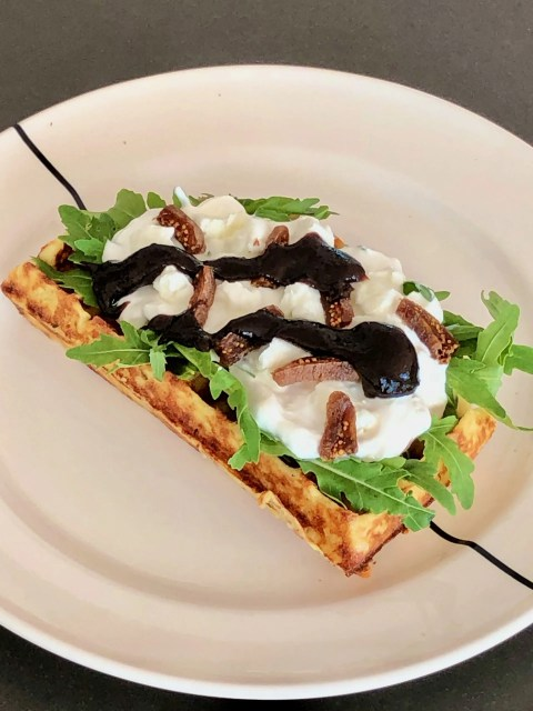 savoury potato waffles with figs and plum compote