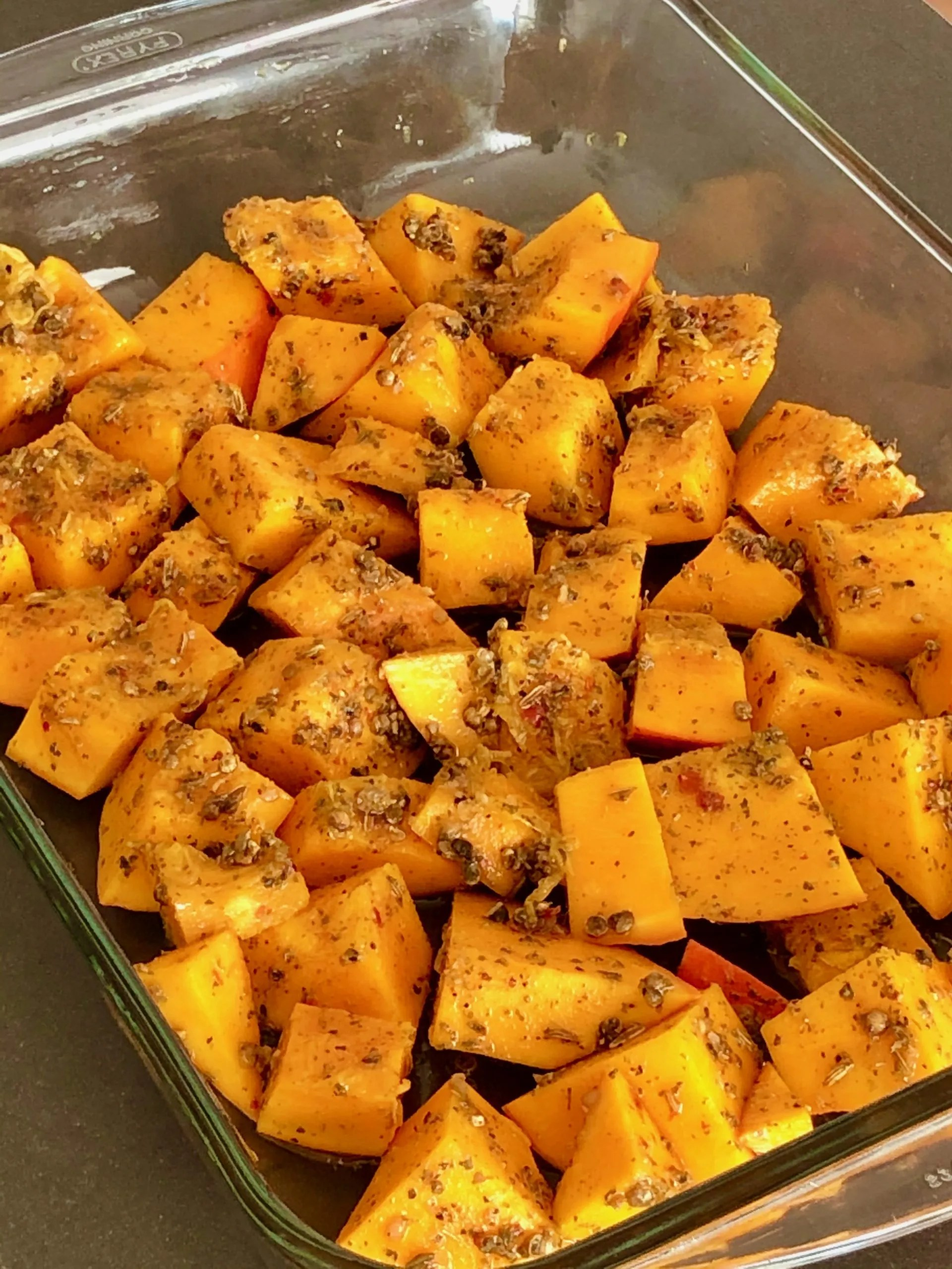 pumpkin cubes prepared with spices