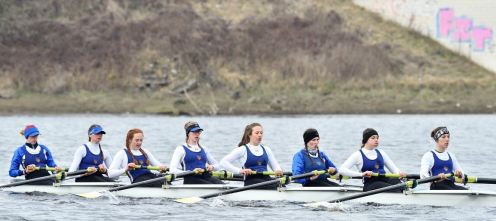 The women's eight racing at BUCS Head