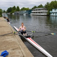 Beginner single sculling at Molesey