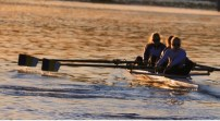 Women's four training early in the morning in Seville