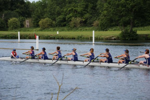 The 8+ rowing back after their timetrial