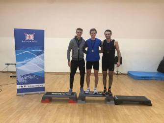 Jamie (L) and Sam (M) coming 1st and 2nd at BUCS Indoors 2018