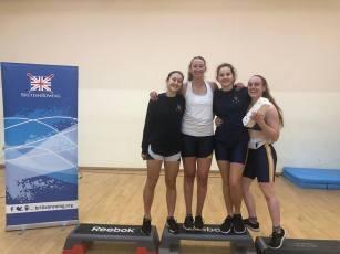 Senior women's BUCS Indoors winning relay team