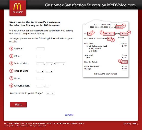 Customer Survey Recepit