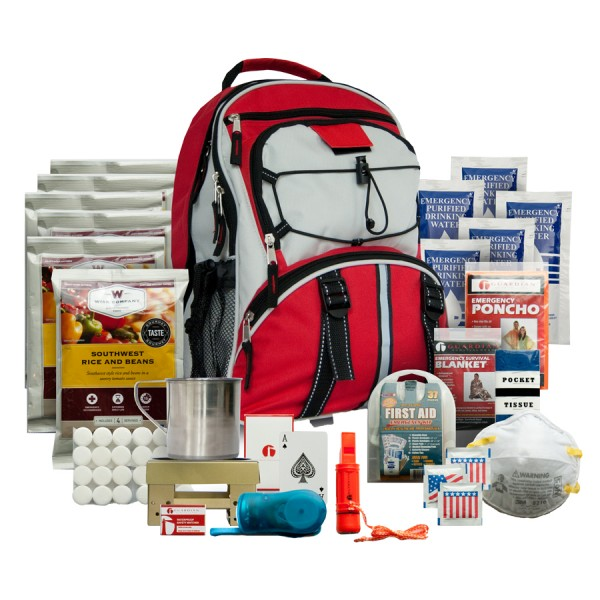 survival back packs, gear, first aid, storage food