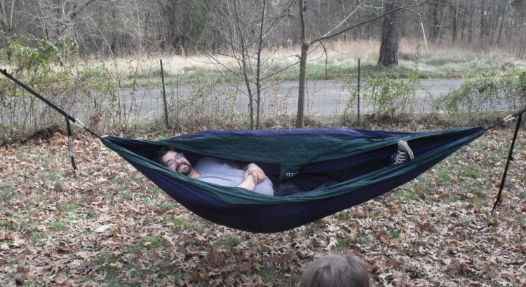 Mike In a Hammock as a bed