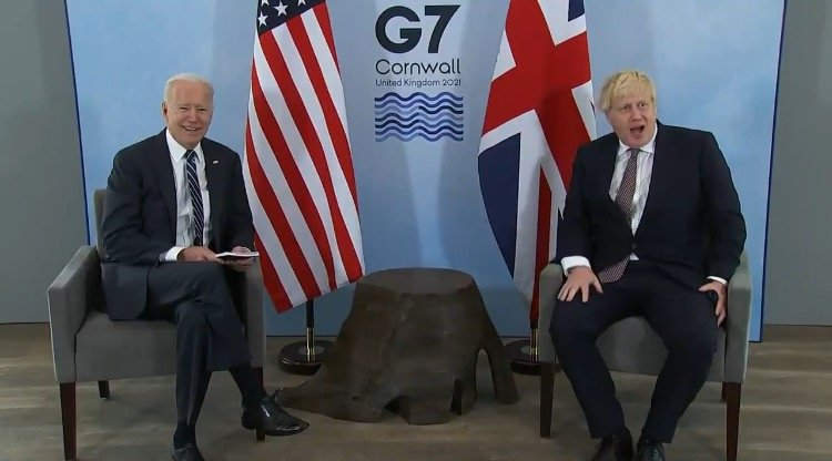 """""""I'm Thrilled to Meet Your Wife"""" – Joe Biden Creeps on Boris Johnson's Young Wife (VIDEO)"""