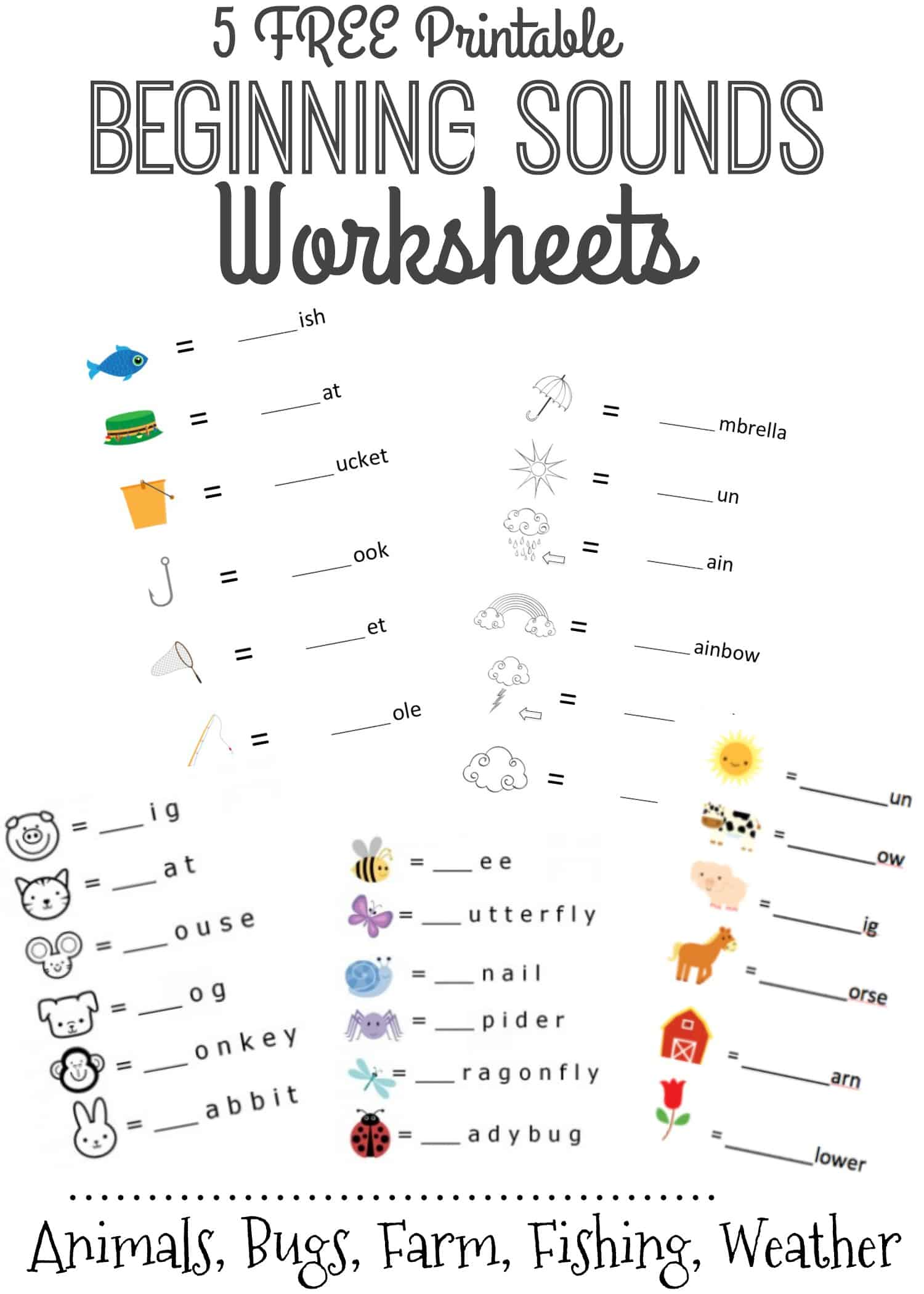 Summer Worksheet Beginning Letter Sounds