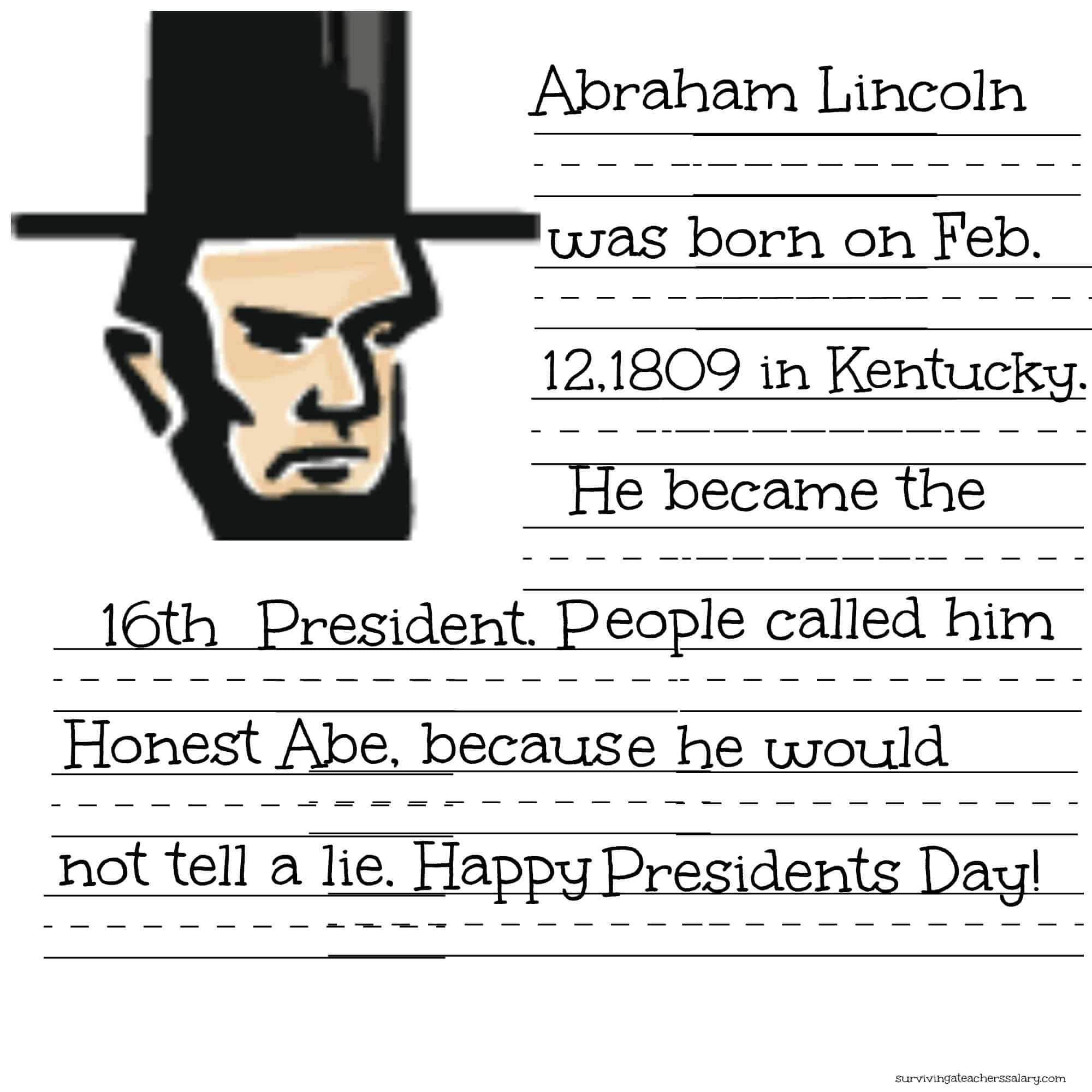 Free President Lincoln Amp Washington Coloring Sheet Amp Handwriting Practice Printables