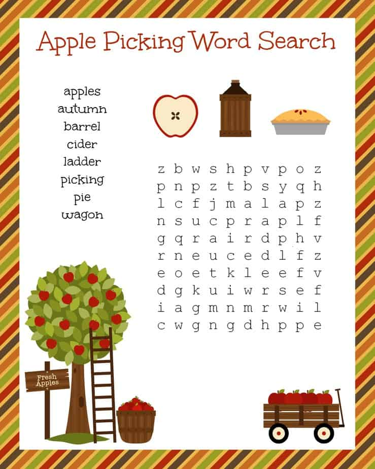 Free Fall Festive Apple Picking Word Search Printable
