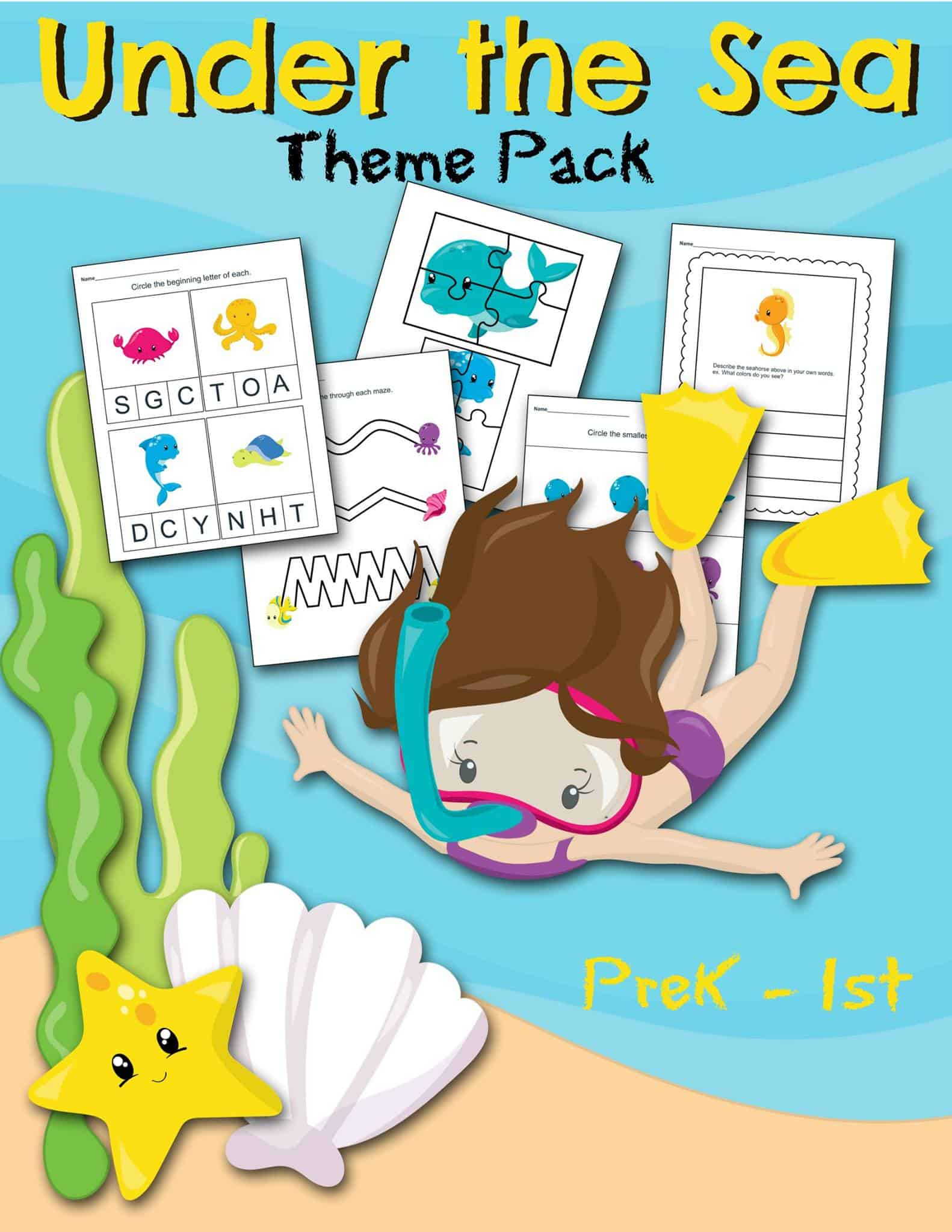 Free Under The Sea Themed Preschool Printable Worksheet Set