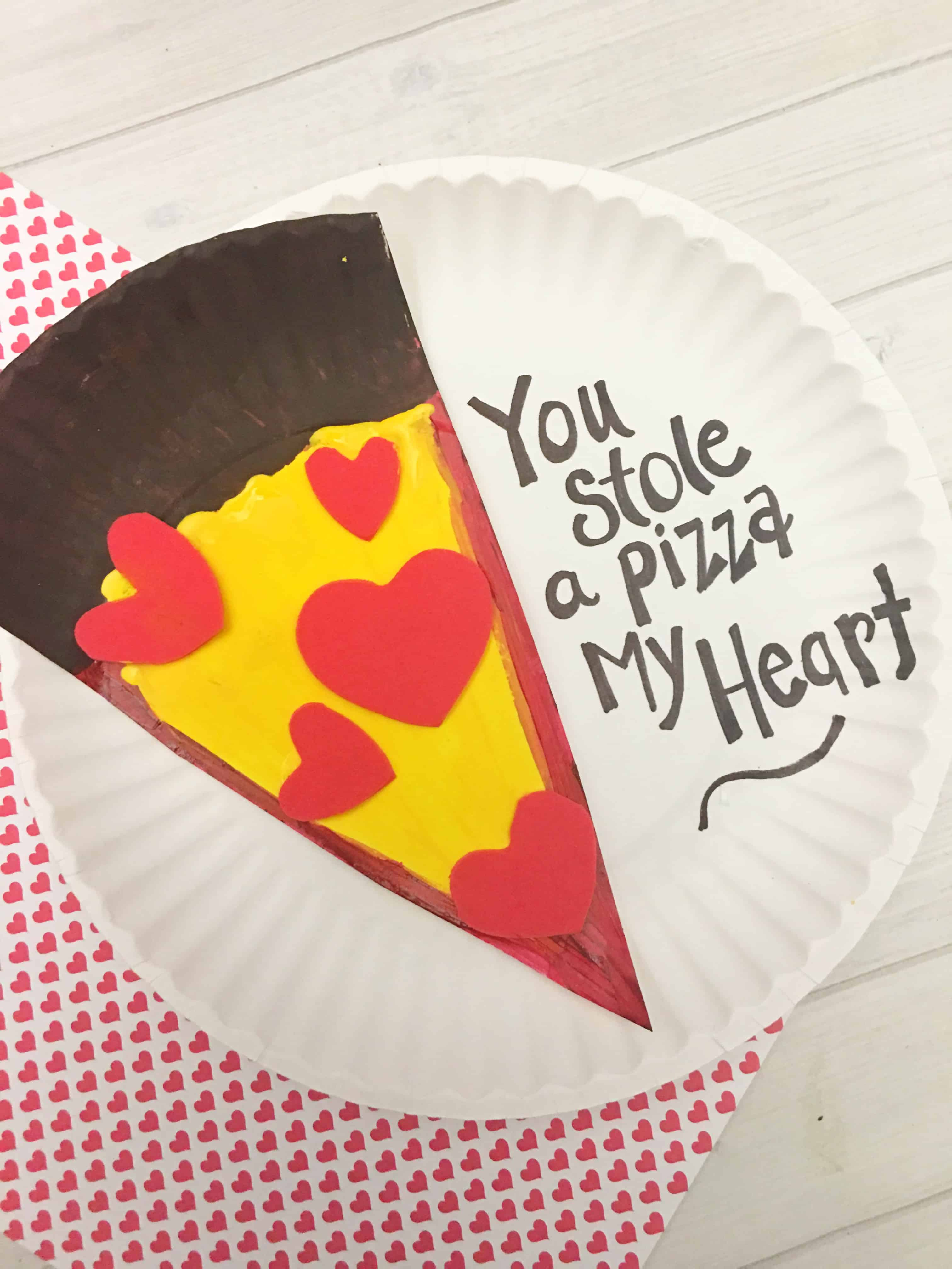 Valentine S Day Pizza Paper Plate Craft For Kids Tutorial