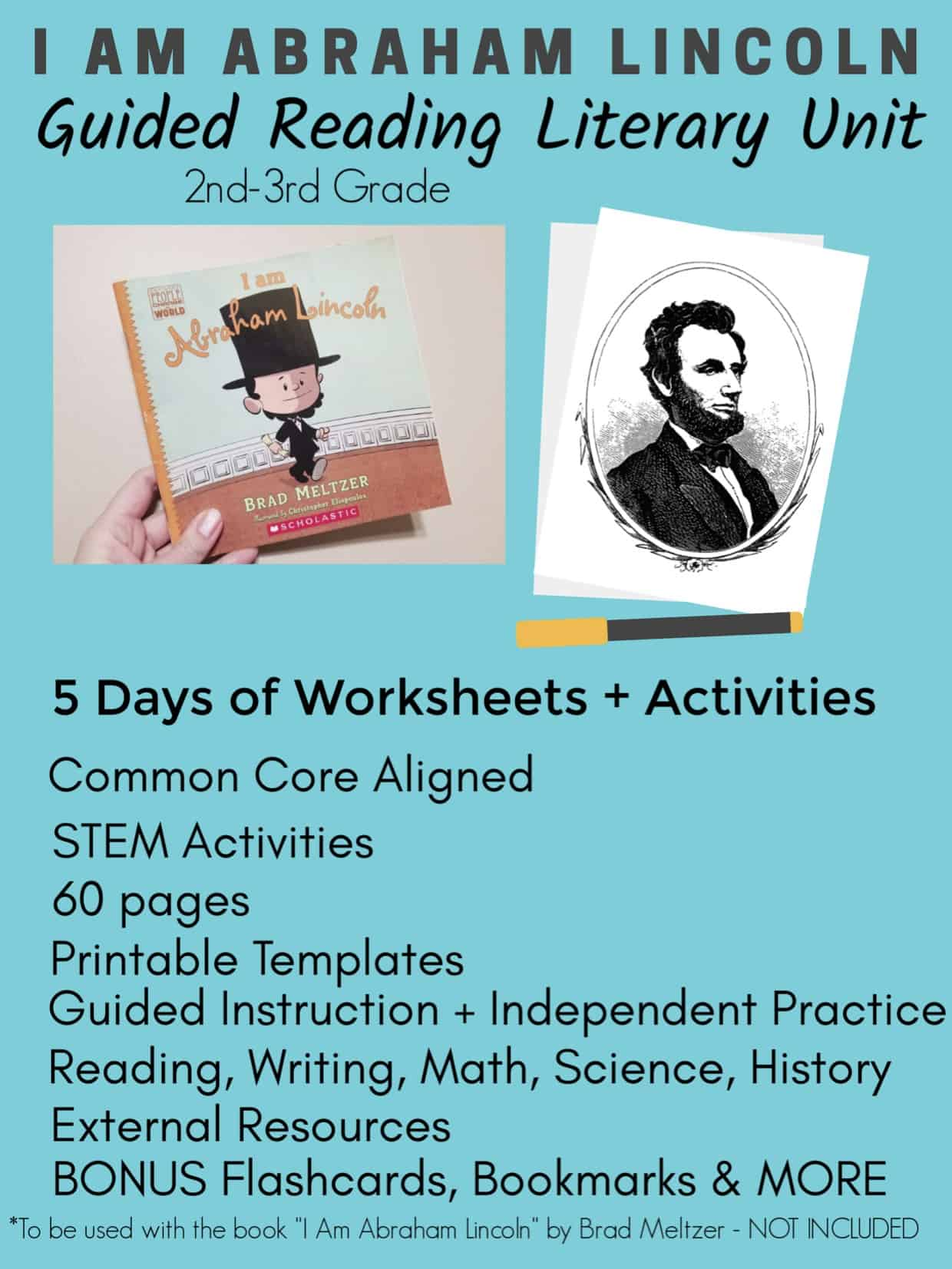 5 Day I Am Abraham Lincoln Guided Reading Literary Unit