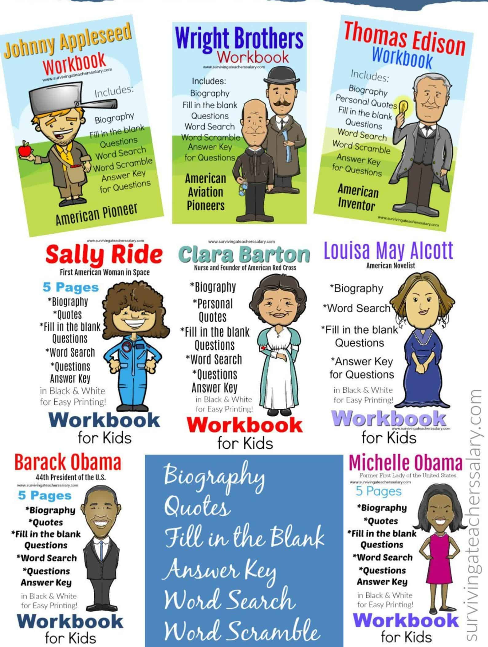11 Famous People In History Workbook