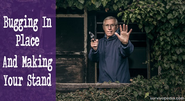 Senior man with gun defending his house from porch covered in plants