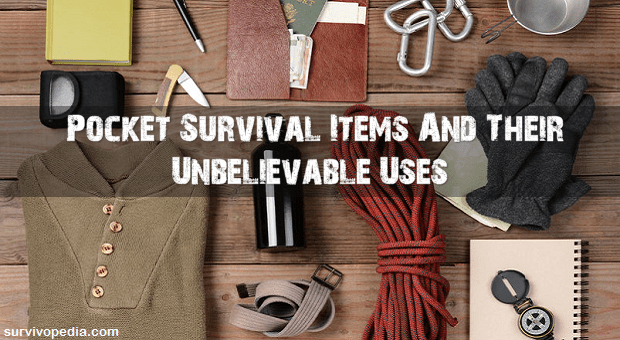 survival gear laid out on wooden background