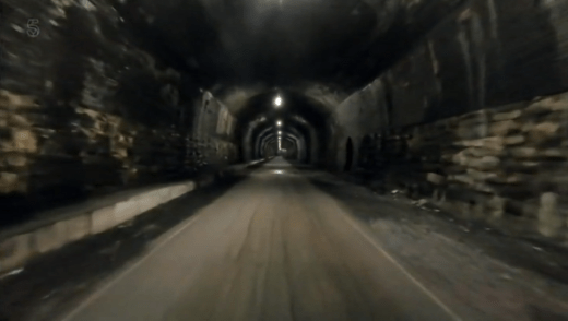 Britain by bike with Larry and George Lamb - Monsal Dale - inside the Headstock tunnel