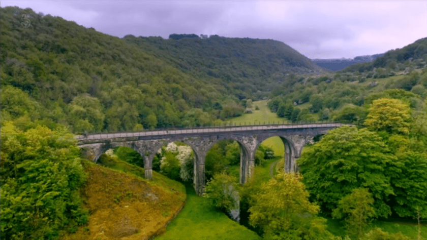 Britain by bike with Larry and George Lamb - Monsal Dale - view of the viaduct