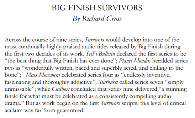 Divergent Wordsmiths - The Meaning of Big Finish - extract from Survivors chapter