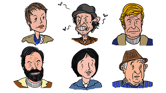 Portraits of Abby Grant, Tom Price, Greg Preston, Charles Vaughan, Jenny Richards and Arthur Russell by artists Tom Bailey - illustrating the critical rewatch of Survivors by Entertainment Focus