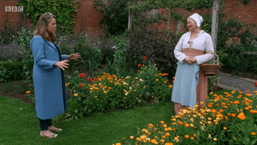 Hampton Court on Antiques Roadtrip (S21, E17) - discussion soap production in the wall garden