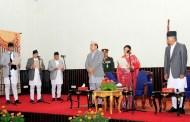 राष्ट्रपति भण्डारीद्वारा नवनियुक्त तीन मन्त्रीलाई शपथ