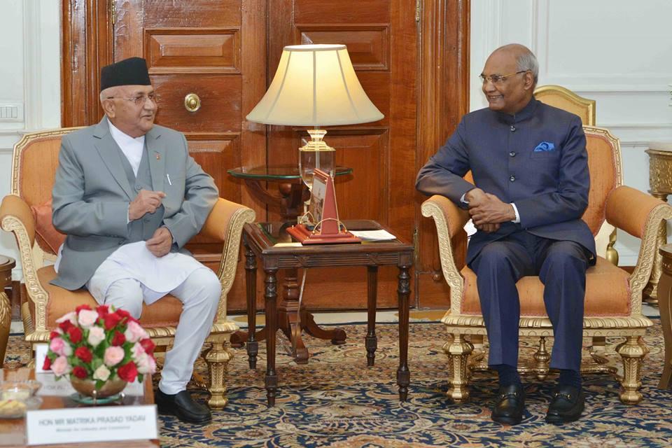 भारतका राष्ट्रपतिसँग प्रधानमन्त्री ओलीको शिष्टाचार भेट