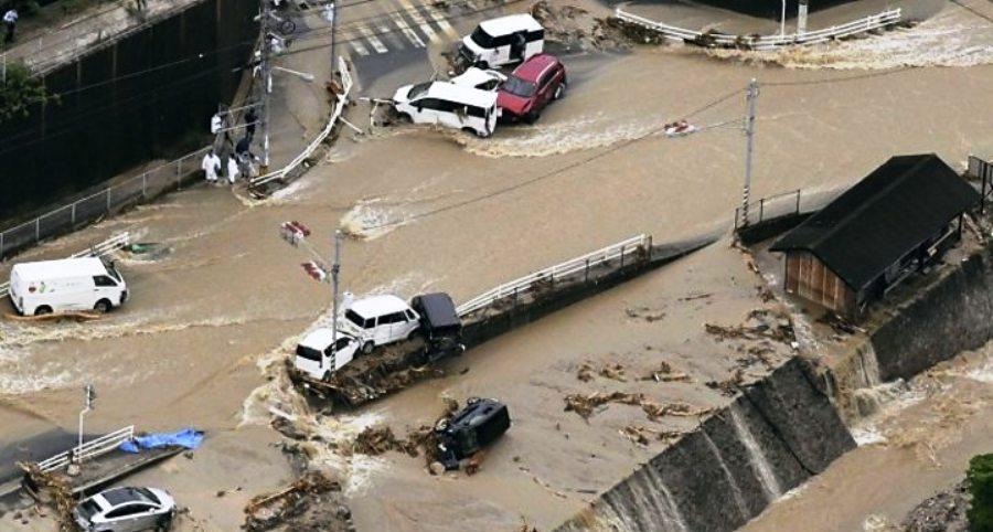जापानमा वर्षाबाट मृत्यु हुने २०४ जना, प्रधानमन्त्री प्रभावित क्षेत्रमा