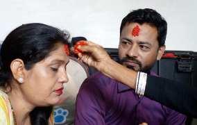 त्रिपुराकोटमा दशैँको जमरा टीका लगाउने आफ्नै साइत