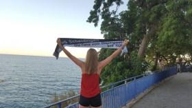 Friederike Mawick am 14.08.16 in Calella/Barcelona am Strand