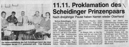 Karneval 1995 Westfalenpost im Oktober 1994