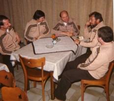 Jugendvorstand 1980 im Saal Foschepoth V.l. Heinz-Josef Schürhoff, Franz-Josef Wulf, Klaus Liedtke, Richard Busch, Fitti Koch