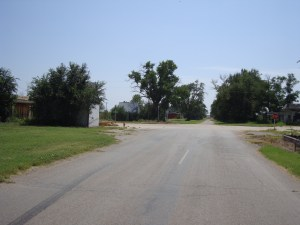 Looking down the road into Texola, Oklahoma