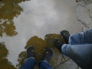 picture of our feet in our barefoot toe shoes