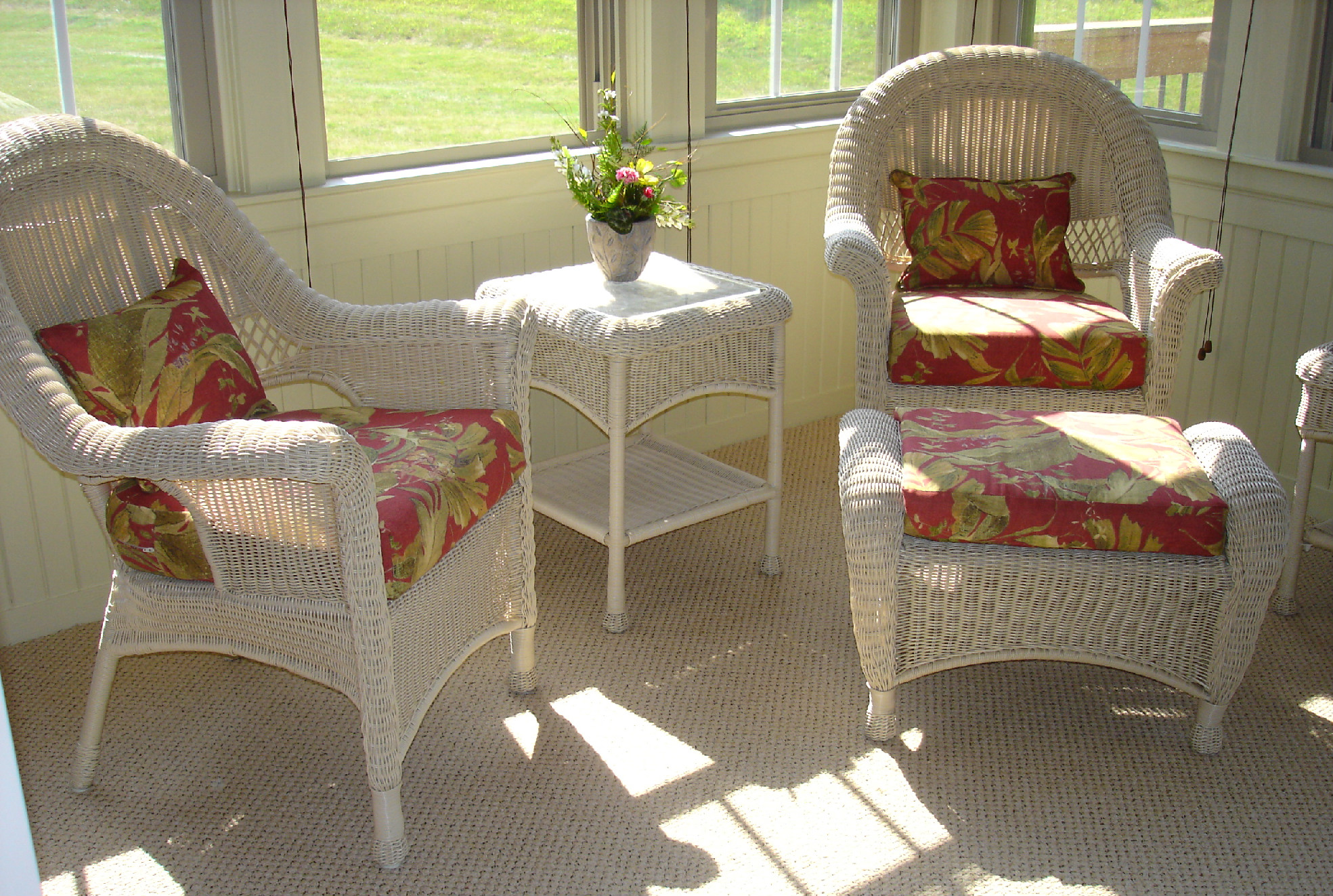 Update your wicker furniture      Susan s Designs wicker love seat cushions wicker chair cushions