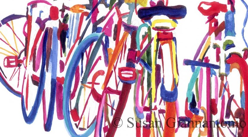 Bike Jam watermedia painting