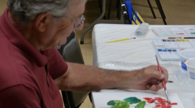 Wow these Veterans are making beautiful paintings! Aug. 27, 2013 class.