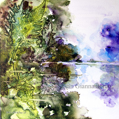 Seine, Remembered. 12 x 12 transparent watercolor on cradled claybord