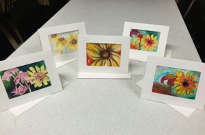 Fridays we offer one hour card painting classes for beginners.