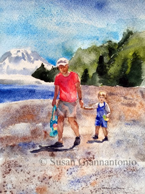 "Jackson and Grandpa, 14 x 11"" watercolor on d'Arches rough"