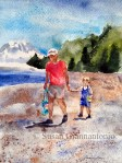 """Jackson and Grandpa, 14 x 11"""" watercolor on d'Arches rough"""