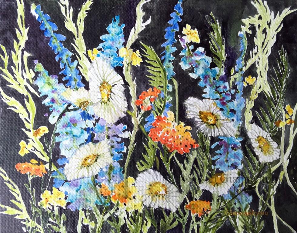 """Nocturne, 11 x 14"""" transparent watercolor on canvas panel"""