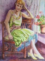 """Bessie Lucille, 30 x 22"""" transparent watercolor on paper"""