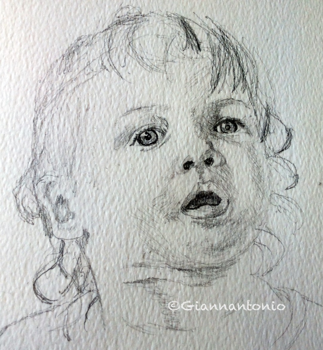 """Lady M at 17 Months, 7 x 5"""" pencil sketch on rough watercolor paper"""
